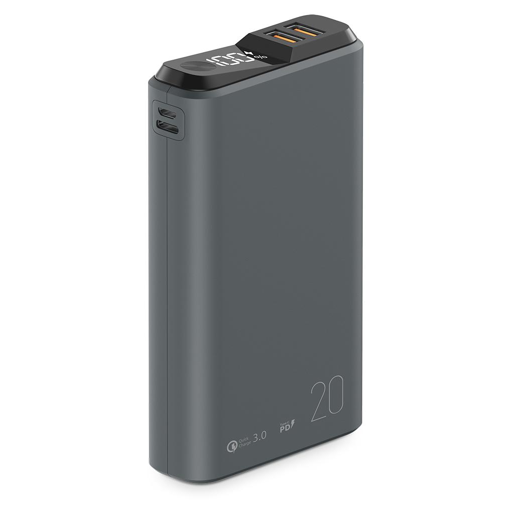 039188 Внешний аккумулятор QS-20, 20000mAh, 18W QuickCharge3.0/PowerDelivery, LCD, темно-серый, OLMIO