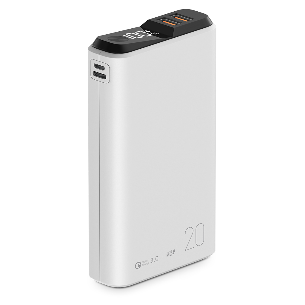 039195 Внешний аккумулятор QS-20, 20000mAh, 18W QuickCharge3.0/PowerDelivery, LCD, белый, OLMIO
