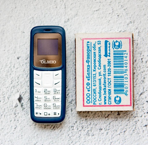 картинка A02 Olmio (синий-белый) Мобильный телефон