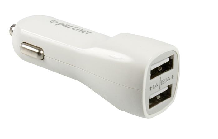 Автомобильное зарядное устройство Partner USB 2.1A, 2USB