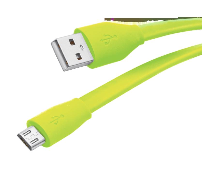 Кабель USB 2.0 - microUSB, 1м, 2.1A, зеленый, плоский, Partner