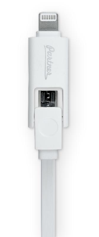 Кабель USB 2.0 - microUSB/Apple 8pin, 2-в-1, 1м, 2.1A, плоский, белый, Partner