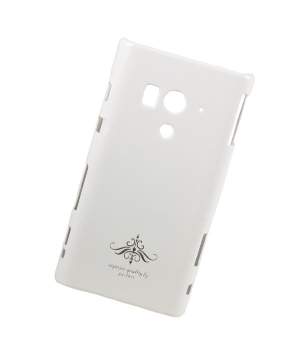 Чехол-накладка Partner для Sony Xperia acro S (LT26w), белый глянец