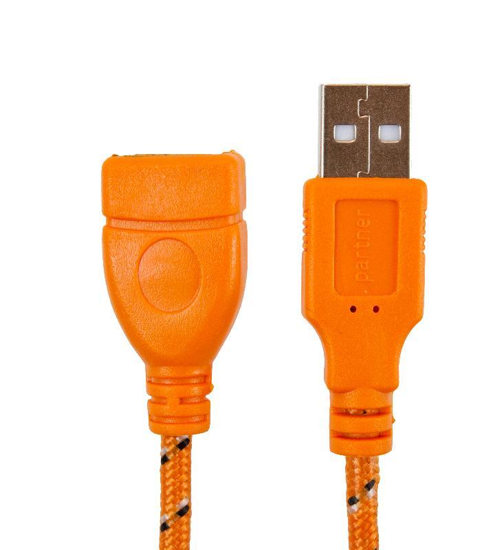 Кабель USB 2.0 5м (А-А) удлинитель m/f, оранжевая оплетка, Partner