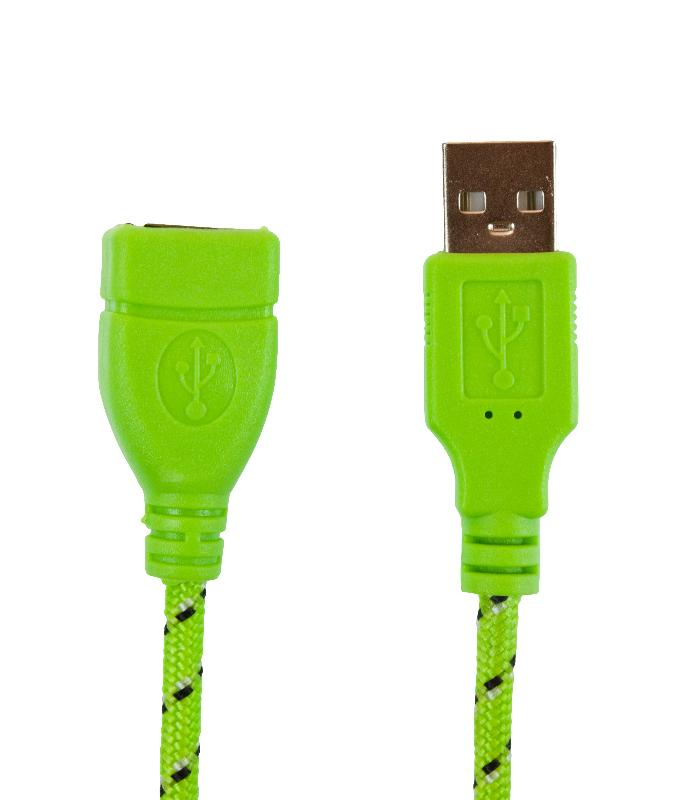 Кабель USB 2.0 3м (А-А) удлинитель m/f, зеленая оплетка, Partner