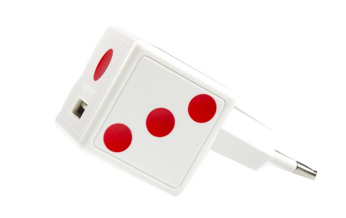Сетевое зарядное устройство Dice, USB 1.5A +microUSB кабель, Partner, белая игральная кость
