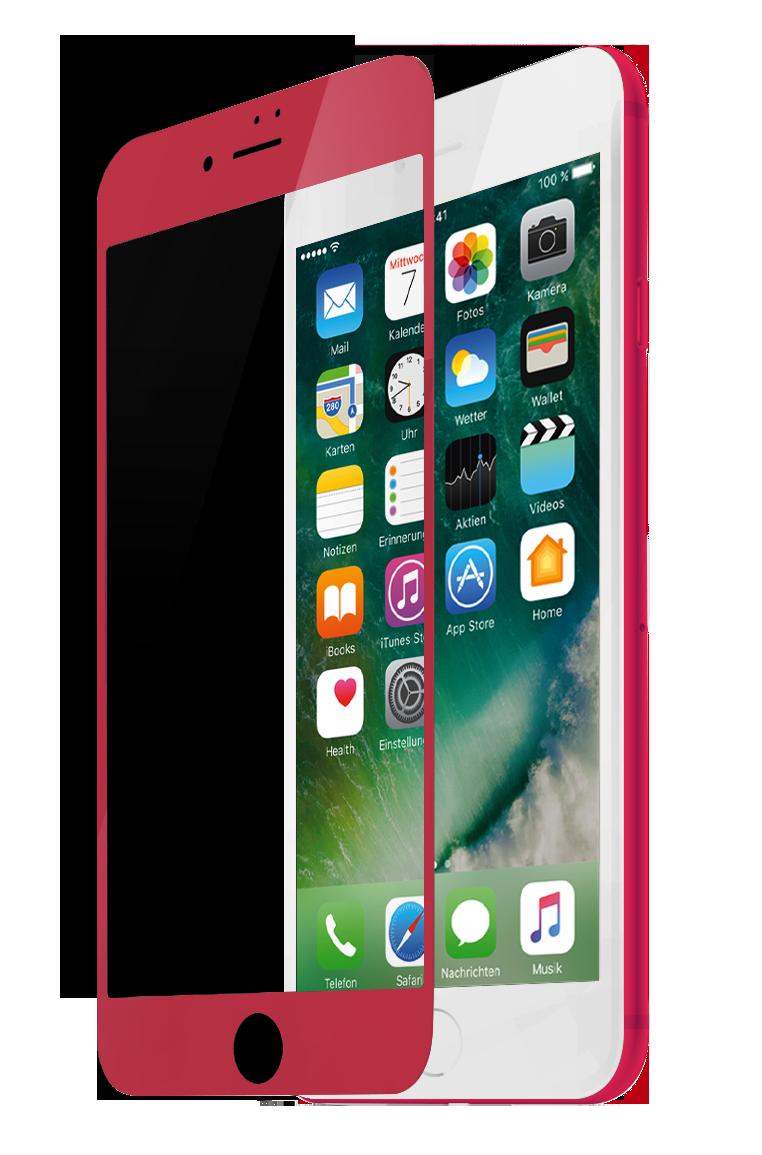 Защитное стекло Partner для iPhone 7 Plus, красная рамка (fullscreen)