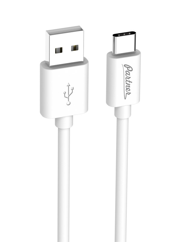 Кабель USB 2.0 - Type-C, 1м, Partner, белый