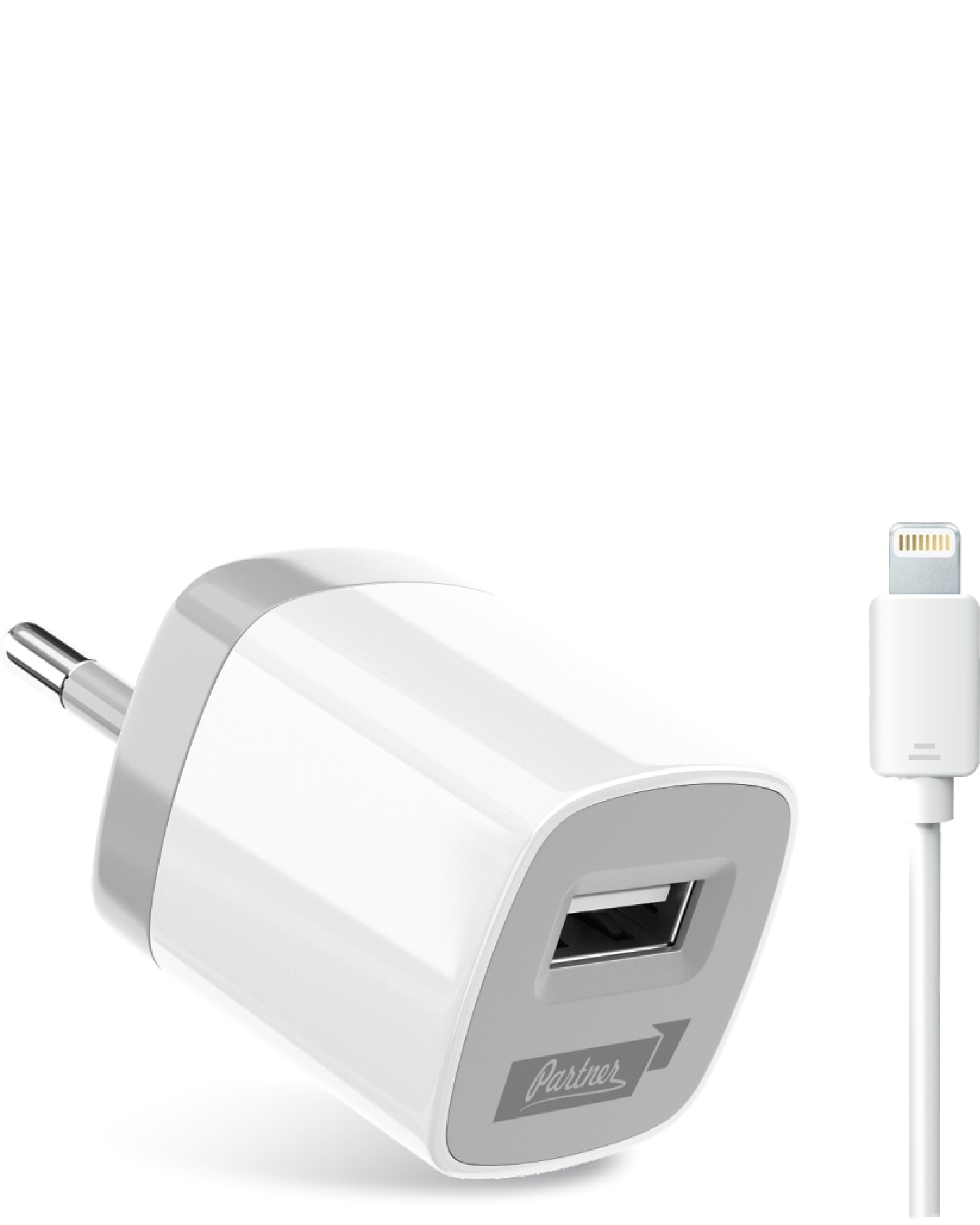 Сетевое зарядное устройство Partner USB 1A +Apple 8pin кабель