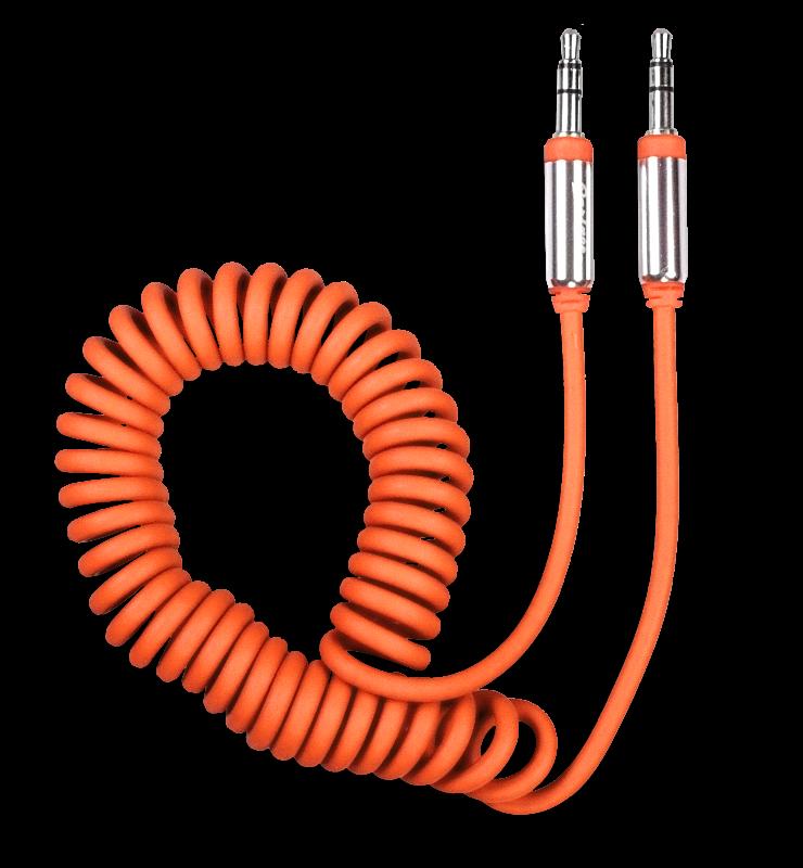 Аудиокабель AUX 3.5(m)-3.5(m), 1.8 м, витой, оранжевый