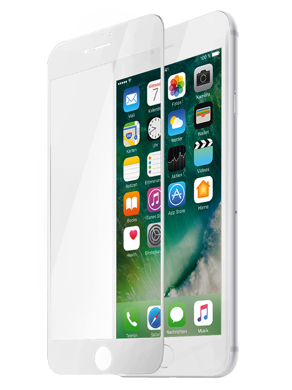 Защитное стекло Partner для iPhone 7, белая рамка (fullscreen)