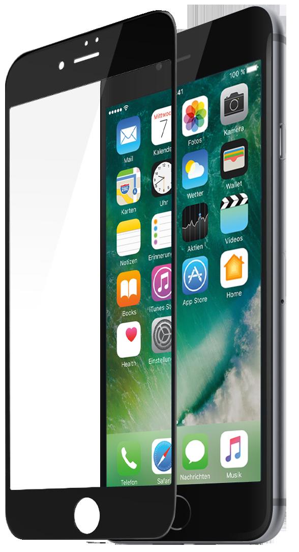 Защитное стекло Partner для iPhone 7 Plus, черная рамка (fullscreen)